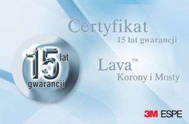 Certyfikat-gwarancja na korony protetyczne LAVA.